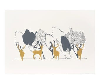 In The Woods Day theme with Stags original screen print