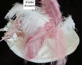 VICTORIAN HAT in Light Pink Shantung and Satin Embellished with Ostrich Plumes, Biot Feathers and Dogwood Flowers Wedding Bridal Easter