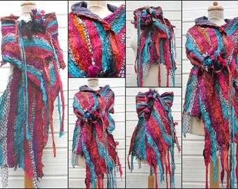 nuno felted scarf, shawl, wrap, handmade, silk, merino wool , art to wear, lagenlook, handmade,patchwork, stripes, READY TO SHIP