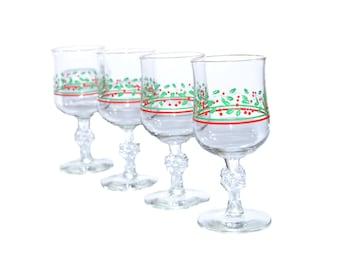 Vintage Christmas Wine Glasses Christmas Glasses Christmas Goblets Holly Red and Green Christmas Drinkware