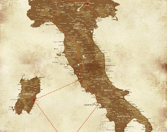 Italy Map Cotton Canvas Roll, 24X36 Inches, Honeymoon Momento, Vacation Art, Travel Map, Italy Wine Map, Europe Prints