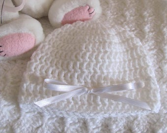 "White Baby Afghan Free Matching Hat Hand Crocheted ""I Love This Yarn"" Super Soft Stroller/Car Seat/Baby Shower/ Christening/Baptism Blanket"