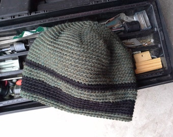 Men's Hat - Alpaca Wool Cap Crochet Slouch for Hiking Biking Skiing Skating Forest Green with Black Stripes (Ready to Ship)