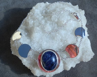 Handmade Sodalite Cabochon Pendant on Sterling Silver Chain Choker