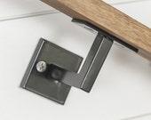 "Minimal Handrail Bracket - 1/2"" Solid Steel Square Bar Bracket wall mount rail stair step railing handrail"
