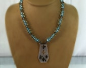 """Sterling Silver Repurposed Mother of Pearl Pendant on Blue Glass and Black Diamond Crystal Bead Necklace, Vintage, 40 Grams, 23"""" Long"""