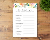 INSTANT DOWNLOAD, Printable Bridal Shower Game, Word Scramble, Watercolor Flowers