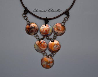 Copper Jewelry - Flame Painted Copper - Leather Necklace of 6 Circles - Copper Necklace - Copper and LeatherJewelry - Christine Chandler
