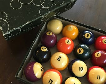 Vintage Pool Ball set Belgium 2 1/4 inch complete with box