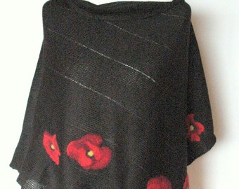 Warm Shawl Cape Clothing Black Red Poppy Felted Wool