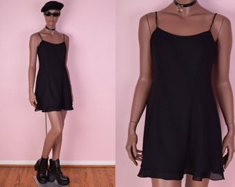 90s Black Mini Dress/ US 7-8/ 1990s/ Tank/ Sleeveless