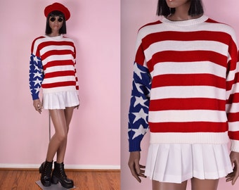 80s American Flag Sweater/ Medium/ 1980s