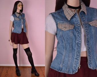 90s Plaid and Denim Vest/ Medium/ 1990s