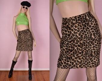90s Fuzzy Leopard Print Skirt/ US 6/ 28 Waist/ 1990s/ Animal Print