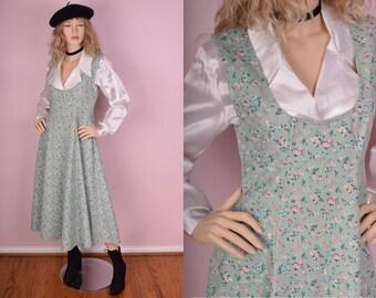 90s Floral Denim Maxi Jumper Dress/ Medium/ 1990s/ Pastel/ Flower