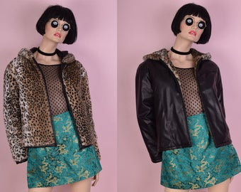 90s Leopard Print Faux Fur Faux Leather Reversible Jacket/ Small/ 1990s/ Hooded
