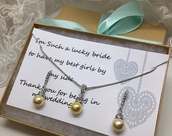 Bridesmaid jewelry set, Bridesmaid gift, bridesmaid necklace, bridesmaid earrings, Wedding jewelry set, Yellow pearl necklace earrings