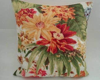 Bright Orange Floral Pillow Cover 20 Inch Square Upcycled 20 X 20