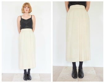 90s High Waist Asymmetric Pleat Midi Skirt
