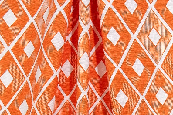 Orange and White Curtains - Rod Pocket - 63 72 84 90 96 108 or 120 Long by 24 or 50 Wide