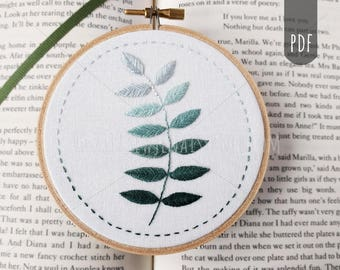 PDF Embroidery Pattern Botanical, Ombre, Leaves, DIY Craft, Hand Stitching,
