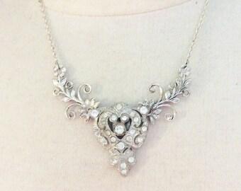 Bridal necklace Art Deco Flower vine necklace vintage necklace up-cycled necklace statement necklace rhinestone necklace wedding necklace