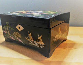 Vintage Japanese Black Lacquer Jewelry Box