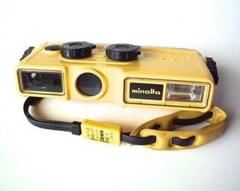 Vintage Minolta Weathermatic A Waterproof 110 Film Camera Yellow & Black, '80's
