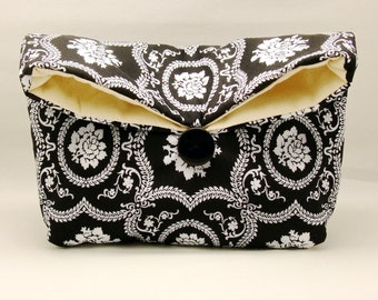 Foldover clutch, Fold over bag, clutch purse, evening clutch, wedding purse, bridesmaid gifts - Black and white (Ref. FC65)
