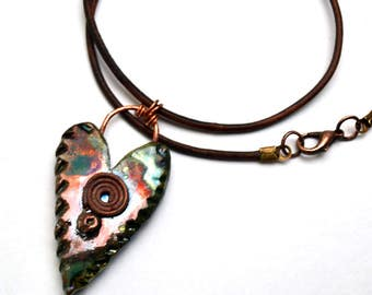 Clay Heart Raku-Fired Pendant Leather Cord Necklace