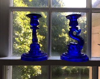 Vallerysthal Candlesticks DOLPHIN / SEA SERPENT  Candlesticks, 1 Lot of Two, Cobalt Blue
