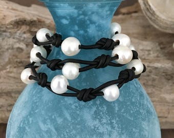 LEATHER & FRESHWATER Pearl WRAP Necklace, Leather Wrap Bracelet, Wraps Around Wrist 3 Times, Knotted Black Leather, White Freshwater Pearls
