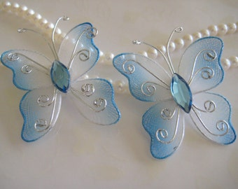 SALE Nylon Butterflies Blue White Two Tones for Wedding Decor, Party Favors, Table Scatters, Embellishments 1.5 inches, 12 pcs
