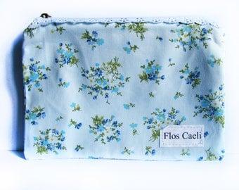 Floral shabby chic pouch - makeup bag - toiletrie bag - lace zipper pouch