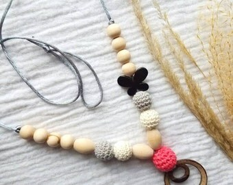 READY TO SHIP  Breastfeeding Necklace - Nursing Necklace - Sling Accessory - Teething Necklace - Baby Teething Toy - Crochet Baby Necklace