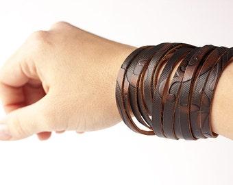 Leather Bracelet / Original Sliced Wrap Cuff / Burnt Amber Floral