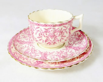 Victorian Pink Floral Trio, Elegant Pretty Minton-Style Ornate Rose Pattern Porcelain Tea Cup Saucer & Teaplate Set 1880s
