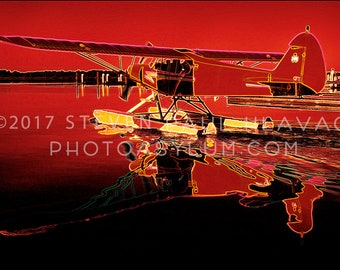 Seaplane Travel Adventure Pop Art Piper No. 17 Red Romantic Florida Aviation Signed Fine Art Photography