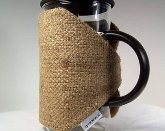 Coffee Sack French Press Cozie, Insulated Coffee Pot Cozy, Bodum 8 Cup Press Pot Cosy, Hot Pot Sleeve Cozie, Repurposed bags