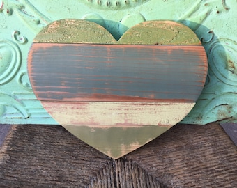 Shades of Green Pallet Heart, Home Decor Wooden Wall Heart, Gallery Wall Heart, Rustic Heart