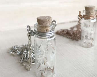 Make a Wish - Small Glass Vial - Vial Necklace - Dandelion Necklace - Dandelion Wish - Dandelion Seeds - Wish Necklace