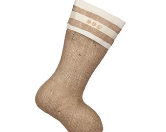 Classic Burlap Stocking - Burlap with Triple Wooded Button Cuff - Single Stocking (1)