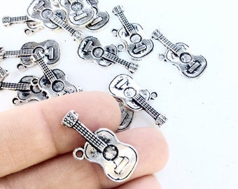 15pc classic guitar charms in an antiqued silver color  destash lot