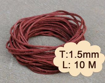 10 Meter (1000cm, 10.93 Yard, 393.70 inch or 32.8Ft)  X 1.5 mm Thick -Mahogany  Brown Suede Round Leather-S199 (Lead-free: SGS testing)