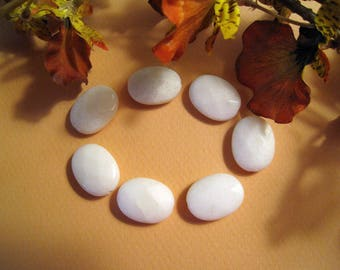 White Jade Faceted Oval Beads - Nice Size - 15mm x 20mm x 7mm - Set of 7