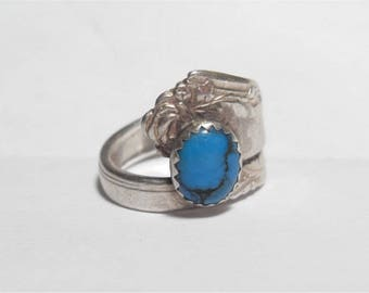 SALE Vintage Sterling Silver Damask Rose & Turquoise Spoon Ring Oneida Size 8.5
