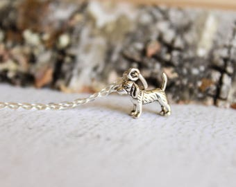 Itty Bitty Beagle Necklace in Sterling Silver