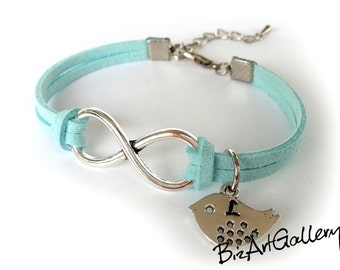 Initial Personalized Infinity & Bird Suede Leather Bracelet / Best Friend / BFF / Sisters Gift / Custom Color / Hand Stamped Letter