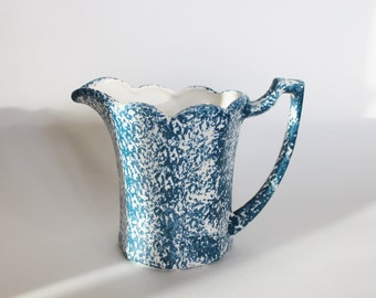 vintage blue and white spongeware ironstone pitcher, water pitcher