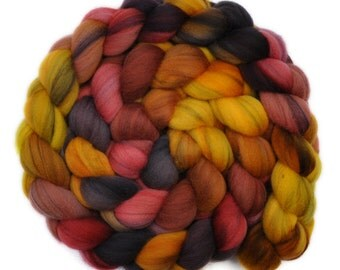 Hand dyed roving - 21.5μ Merino wool combed top spinning fiber - 4.1 ounces - Cheating Heart 2